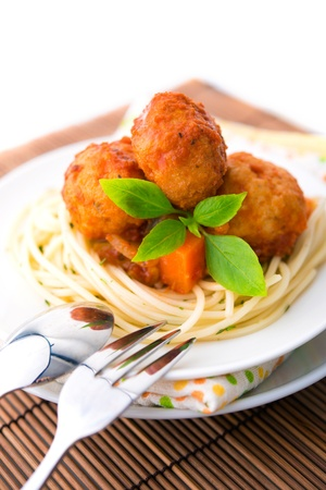Spaghetti and chicken meat ball ready to eat photo