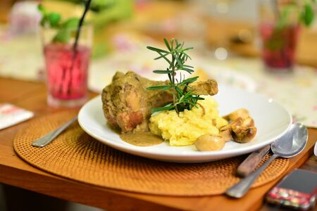 Lamb Shank with Garlic Mashed Potato ready to eat photo