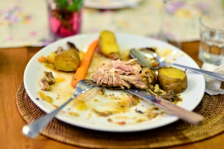 finished: Leftover food on place after partying Stock Photo
