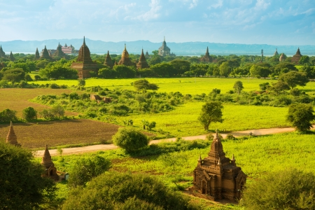 Daytime view over temples of Bagan in Myanmar Stock Photo - 16185095