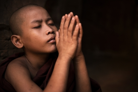 Young little novice monk praying photo