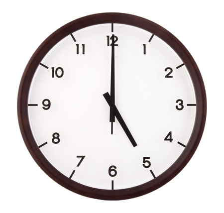 oclock: Classic analog clock pointing at 5 oclock, isolated on white background