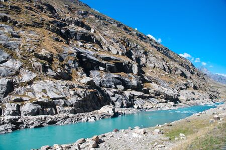 ladakh: Water melt from himalaya range, route from Manali to Leh, India