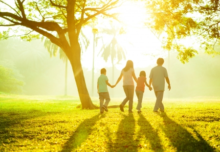 Happy Asian family holding hands walking over green lawn photo