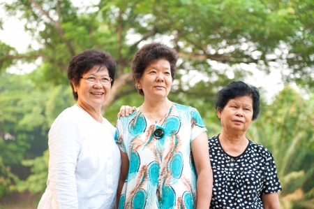 Three Asian senior women at park in a morning photo