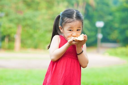 Little Asian girl eats a sandwich on fresh air Stock Photo - 16561611