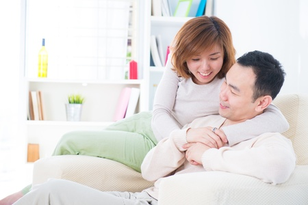 asian home: Asian couple having sweet talk at home