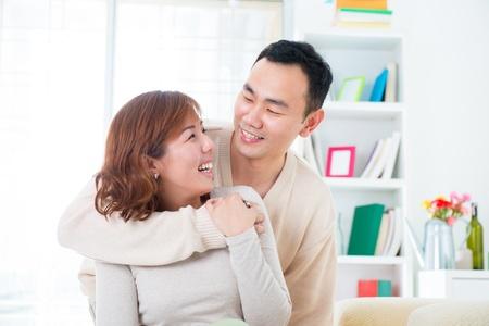 Happy Asian couple lifestyle, indoor home Stock Photo