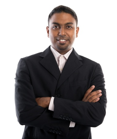 indian male: Good looking 30s Indian male crossed arms over white background