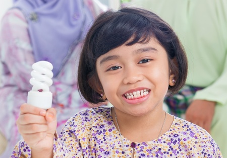 Muslim Southeast Asian girl lightbulb idea concept. photo