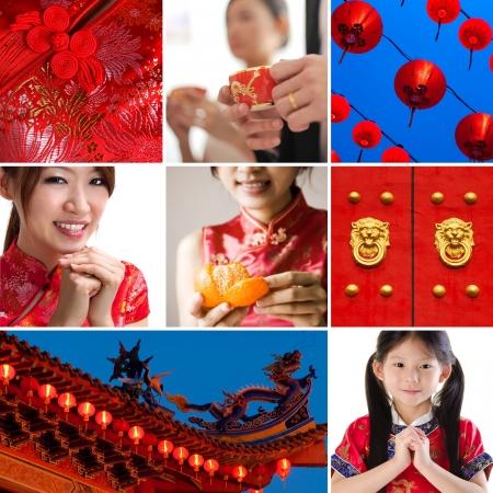 niños chinos: Colección  collage de fotos de concepto chino del Año Nuevo