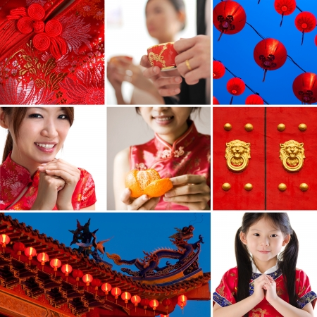 chinese dress: Collection  collage photo of Chinese new year concept Stock Photo
