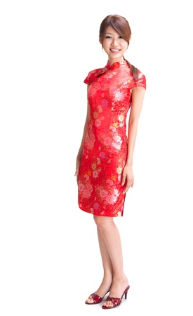 the whole body: Full body abundance chinese girl in traditional Chinese cheongsam, isolated on white background