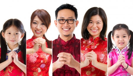 chinese family: Collage of Chinese new year concept Stock Photo