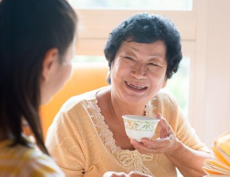 chinese family: Asian Chinese family having breakfast in restaurant