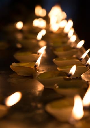 Diwali oil lamp in indian temple Stock Photo - 17083710