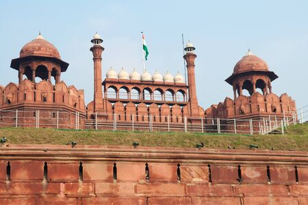 Red Fort is a 17th century fort complex constructed by the Mughal emperor Shah Jahan in the walled city of Delhi that served as the residence of the Imperial Family of India. photo