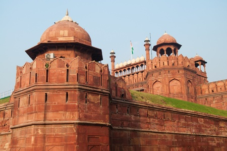 new delhi: Architectural detail of Lal Qila - Red Fort in Delhi, India