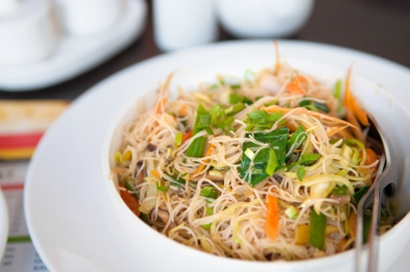 bean sprouts: Delicious Singapore fried rice noodles Stock Photo