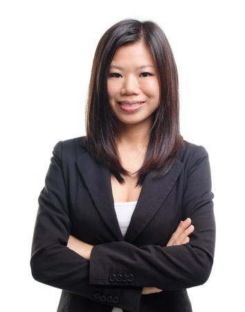 Mixed race EducationalBusiness woman on white background photo