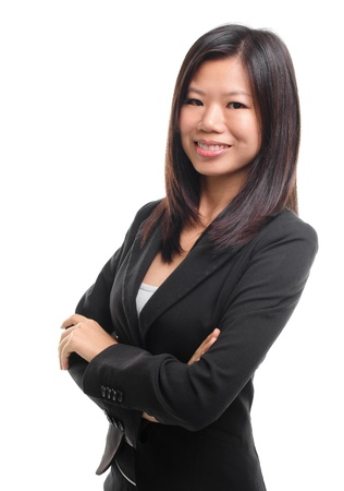 Smiling Southeast Asian Educational  Business woman over white background photo