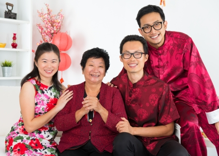 reunion: Happy chinese new year. Asian family reunion. Stock Photo