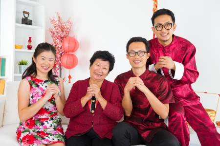 Happy chinese new year. Asian family reunion at home. photo