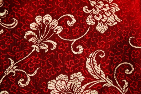 silk cloth: Traditional chinese silk clothing sample with flora pattern. Stock Photo