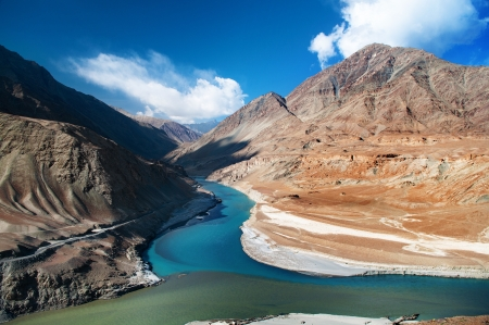 junction: Confluence of Zanskar and Indus rivers - Leh, Ladakh, India
