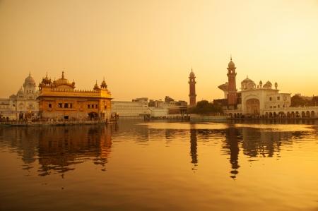 Sunrise at Golden Temple in Amritsar, Punjab, India. photo