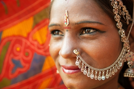 Close up face of Traditional Indian woman in sari costume, India photo