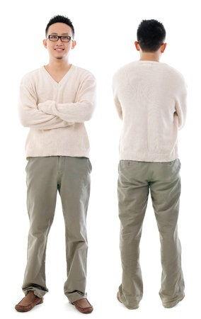man rear view: Southeast Asian Chinese male. Front and rear view of Asian man isolated on white background. Stock Photo