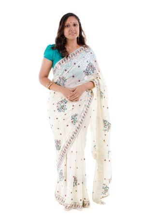 saree: Full body traditional Indian woman in sari costume standing isolated on white background