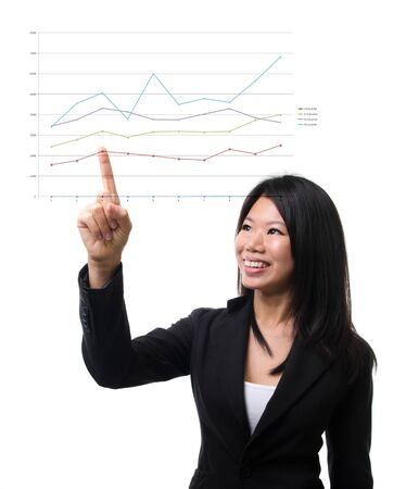 Southeast Asian business woman hand pointing business chart over white background photo