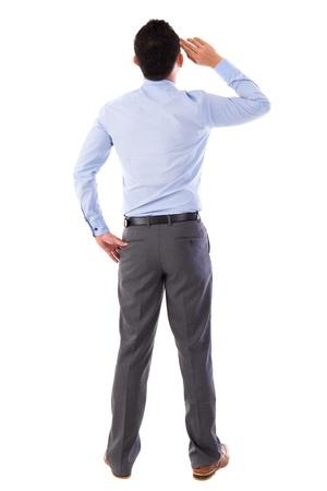 pensamiento creativo: Vista trasera de pie cuerpo completo hombre de negocios asi�tico aislado fondo blanco