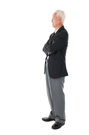 old man standing: Side view full body Asian senior businessman standing isolated white background
