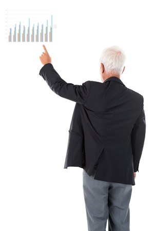 Asian businessman hand pointing business chart over white background photo