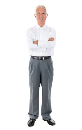 Full body Asian senior businessman standing isolated white background photo
