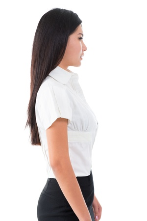side views: Side view of beautiful Asian young woman standing on white background