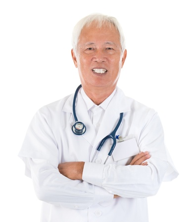 Senior adult Asian specialist medical doctor arms crossed smiling, isolated white background photo