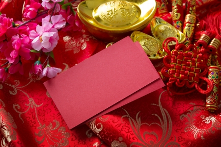 ingots: Chinese new year festival decorations , the chinese character on the gold ingots means fortune and luck