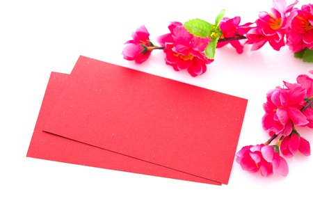 packets: Chinese new year festival decorations on white background, the character on red packet or ang pow means prosperous.