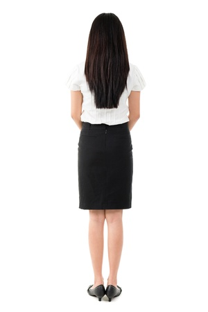 rear views: Full body rear view of beautiful Asian young girl with long black hair standing on white background