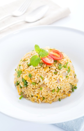 huevos fritos: Chino huevo frito arroz, cocina asiática vegetariana listo para comer Foto de archivo