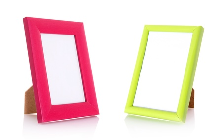 Two blank contemporary desktop picture frame isolated on white photo