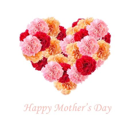 Bouquet of colorful assorted carnation flowers In Love Shape isolated on white with copy space. Happy Mother's day concept. photo