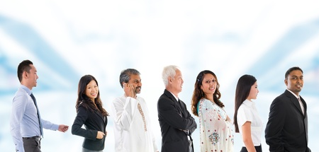 Group of Asian people lined up. Multiracial Asian person queuing up in a line waiting patiently.