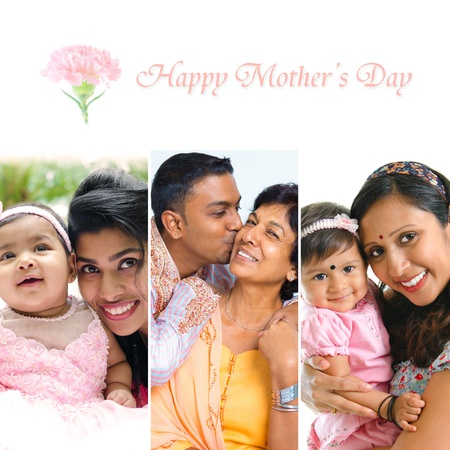 Happy Mothers Day collection. Asian Indian mother and child collection.  photo