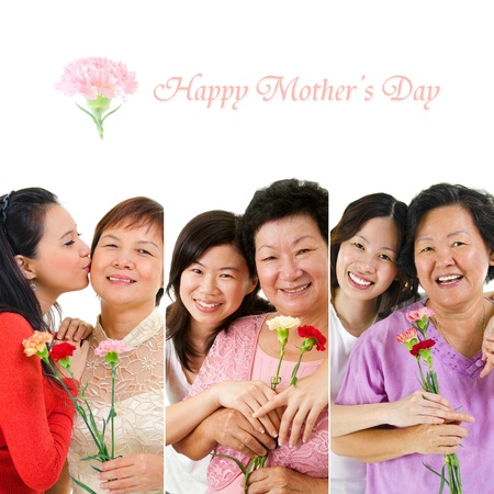 Mother's day celebration. Group of different mothers and daughter holding carnation flower. photo