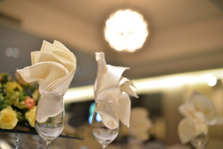 Banquet wedding table setting, shallow depth of field photo